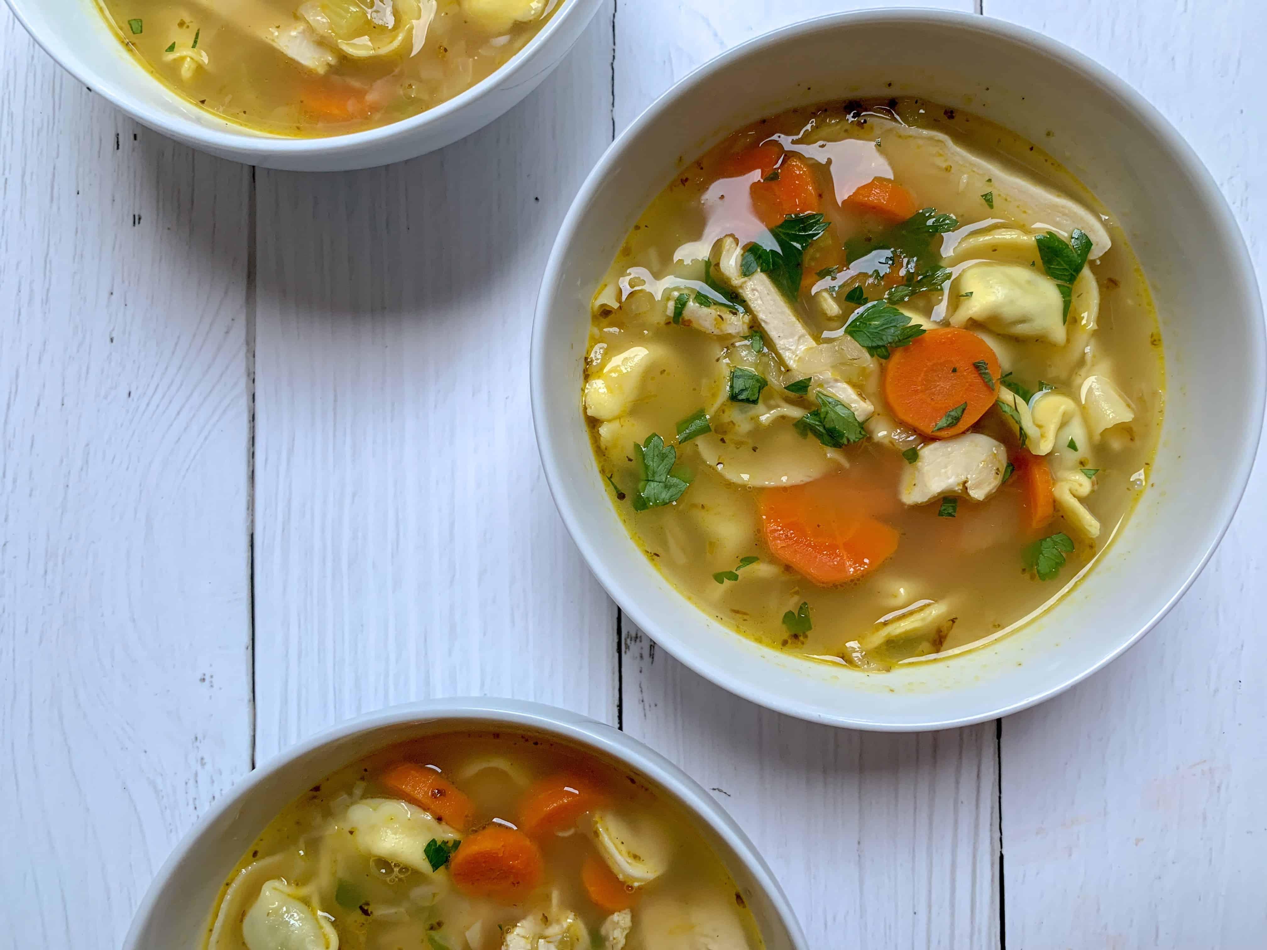 chicken tortellini soup bowls