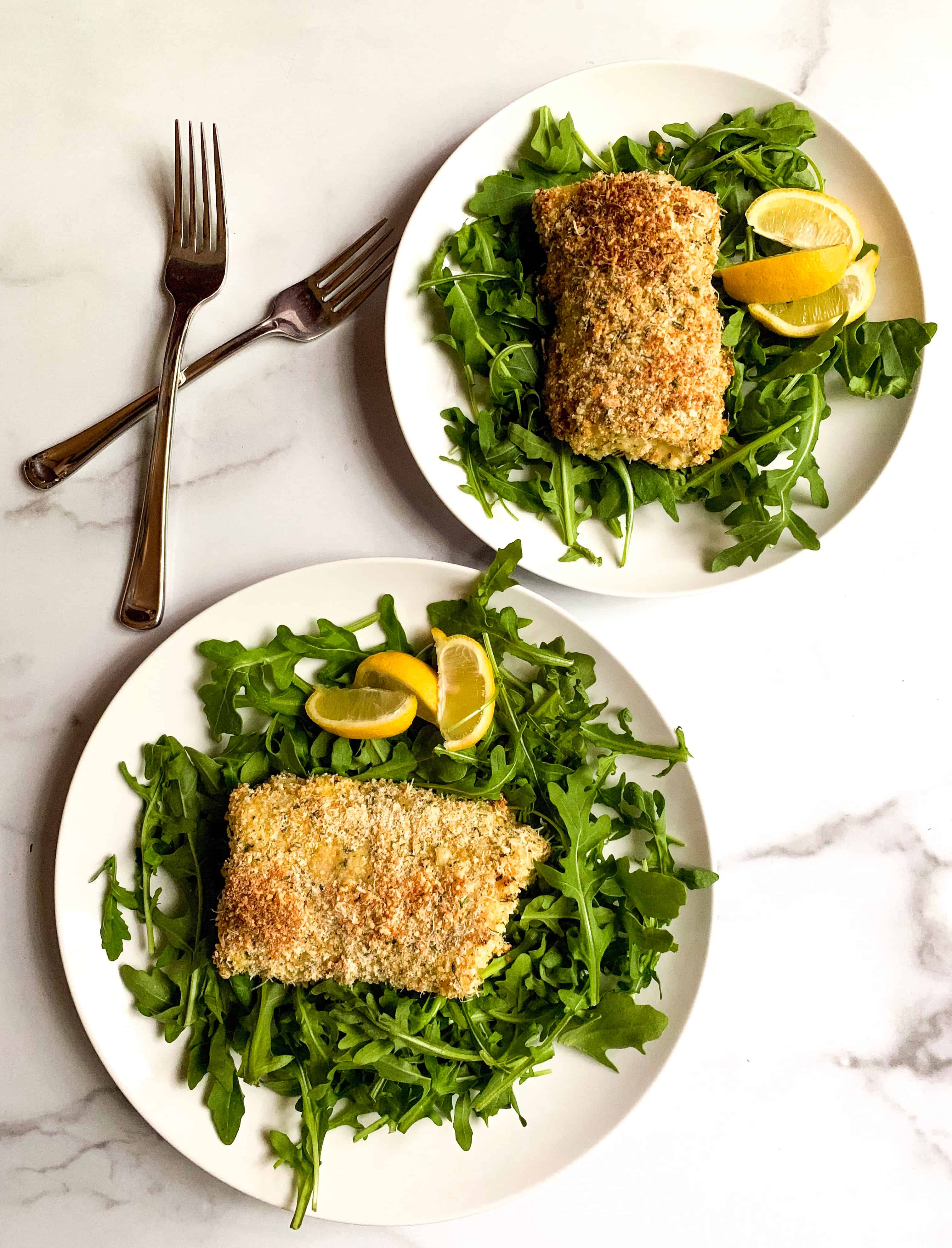 panko and rosemary breaded cod his and hers plates