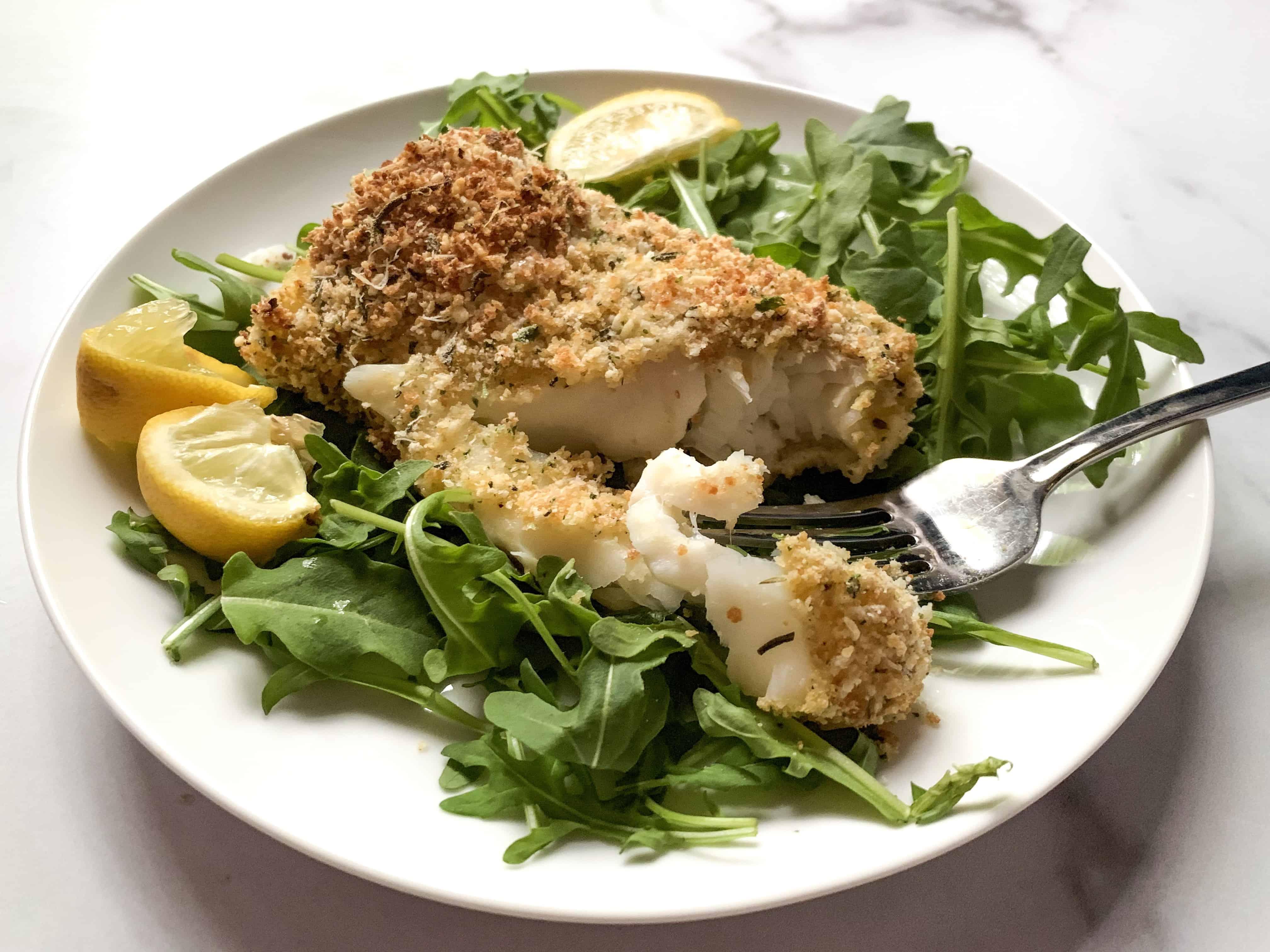 panko and rosemary cod filet opened