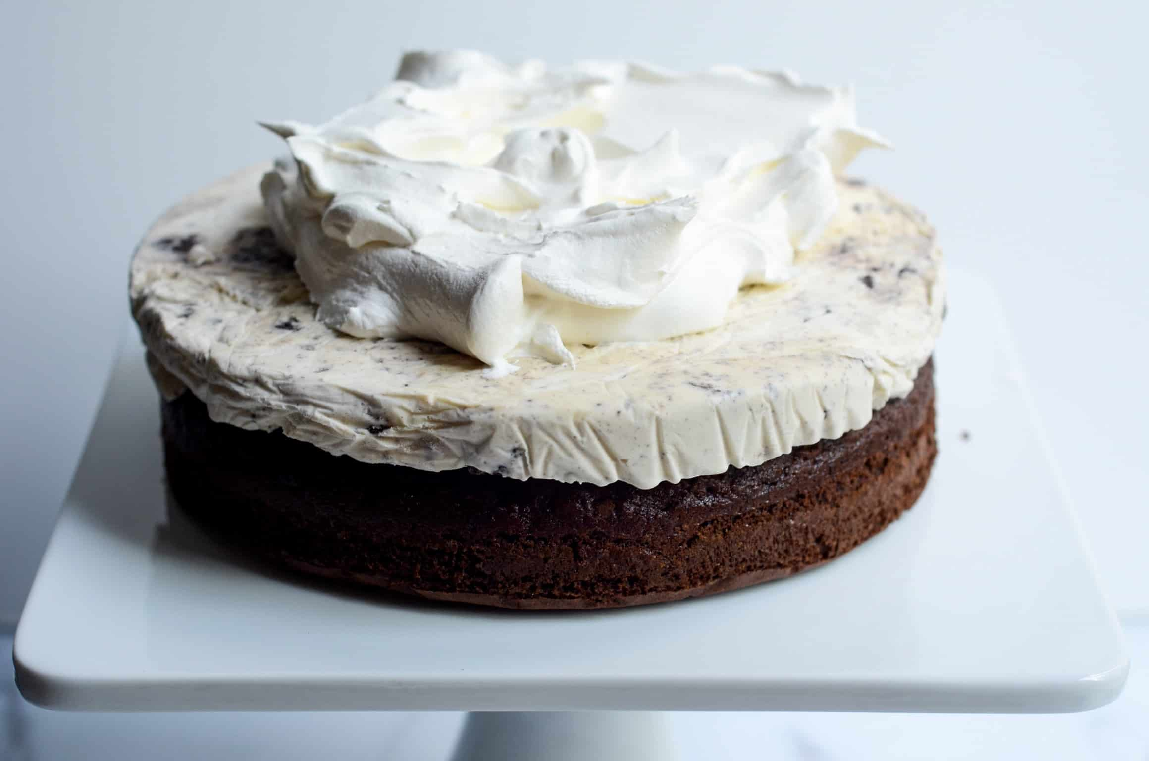 deconstructed cookies and cream ice cream cake