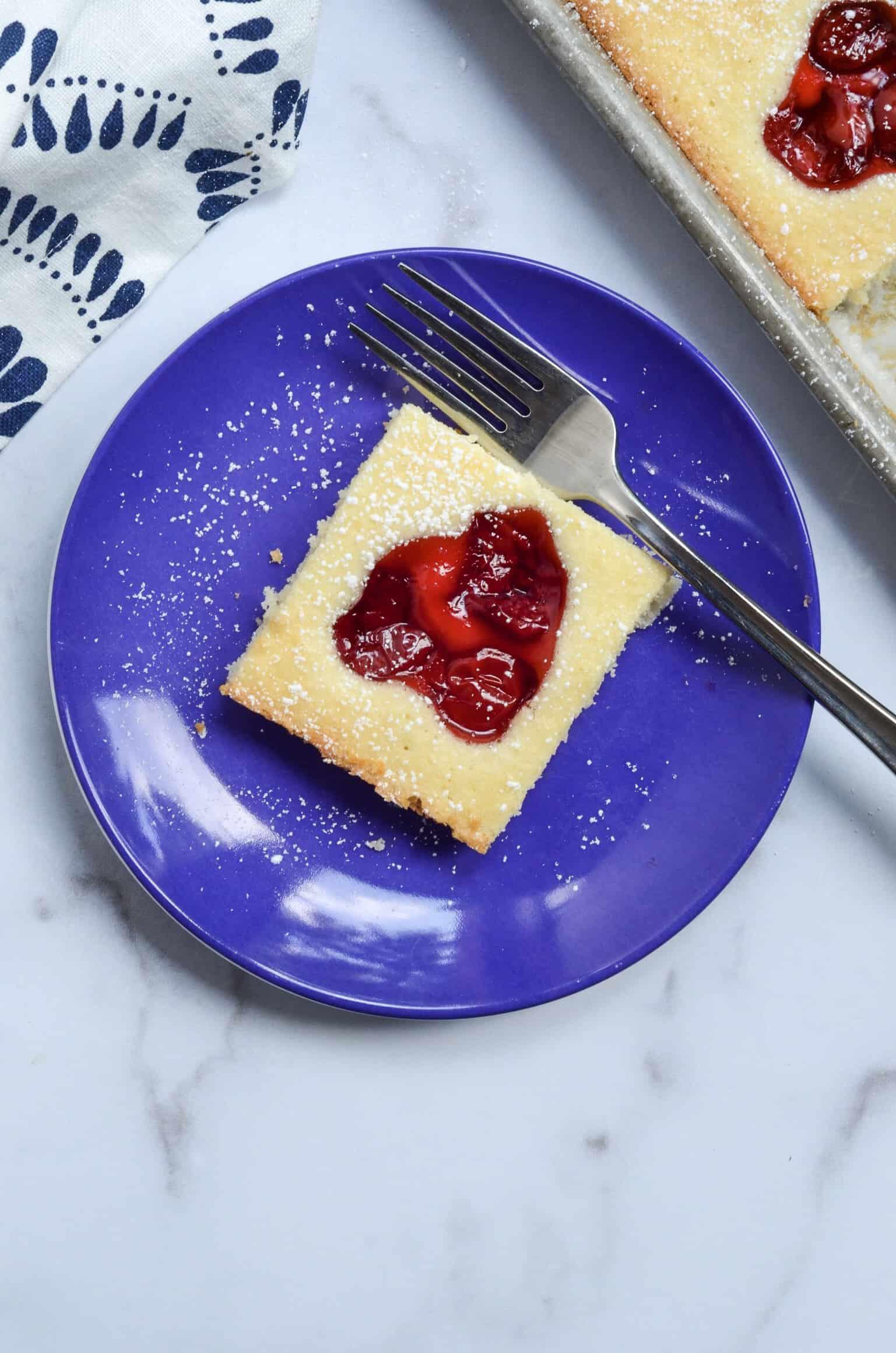 single cherry shortcake square