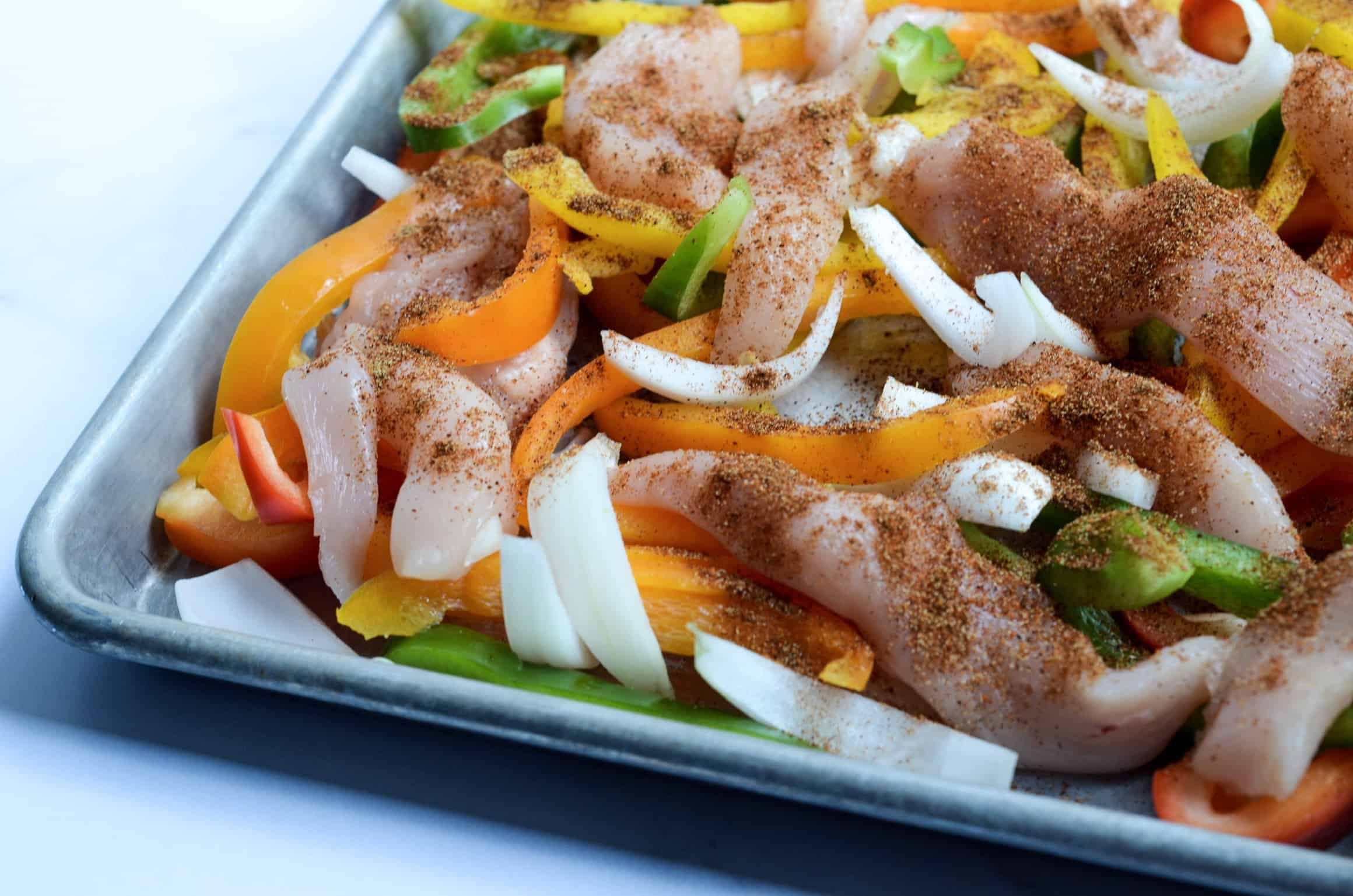 before sheet pan chicken fajitas go into the oven