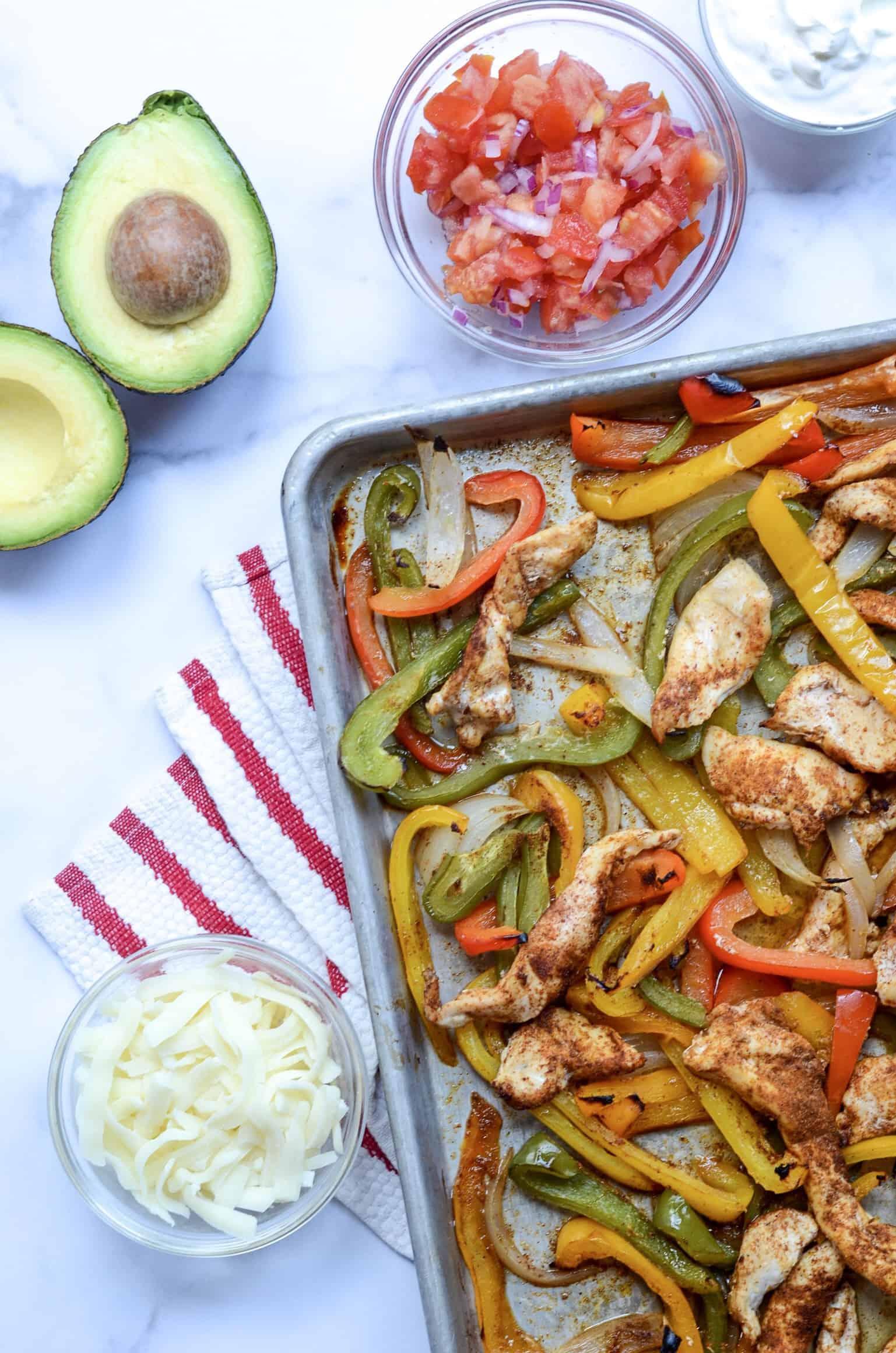 sheet pan chicken fajitas with the fixins