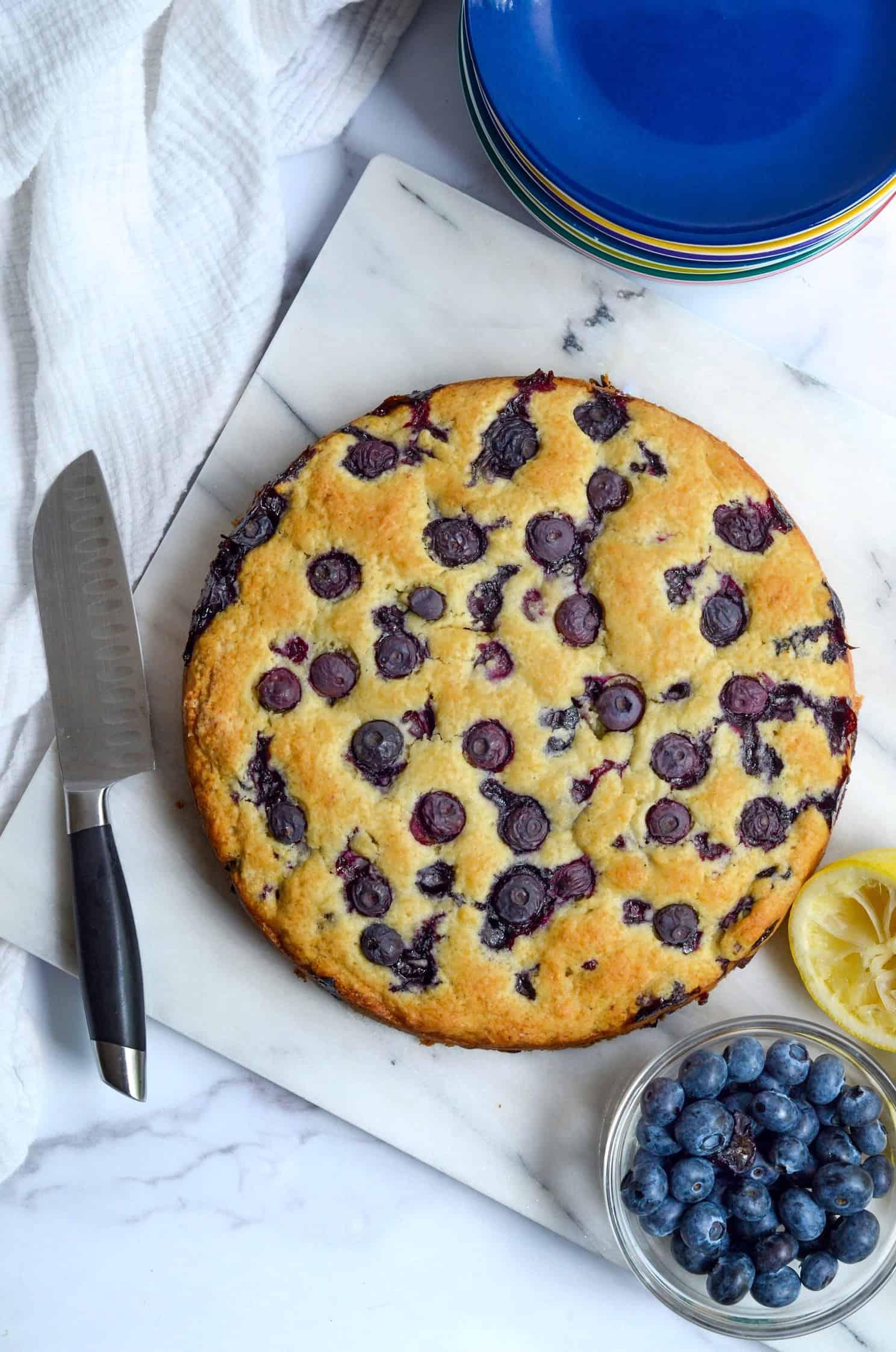 aerial of blueberry breakfast cake