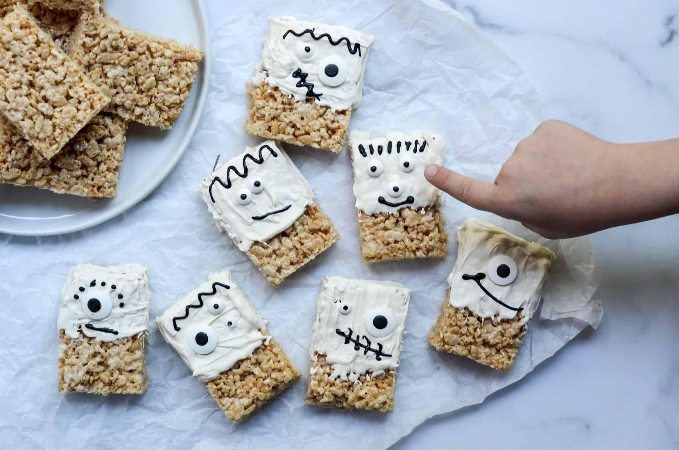 kids love making these rice krispie treats