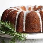 gingerbread bundt cake glazed with vanilla maple