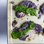 purple cauliflower with chimichurri