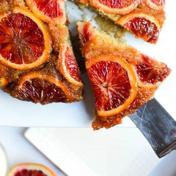 slice of blood orange upside down cake
