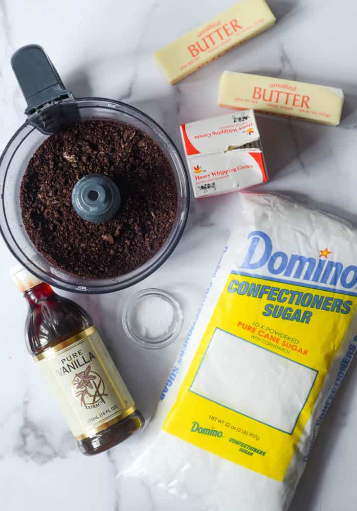 aerial photo of ingredients needed for oreo frosting