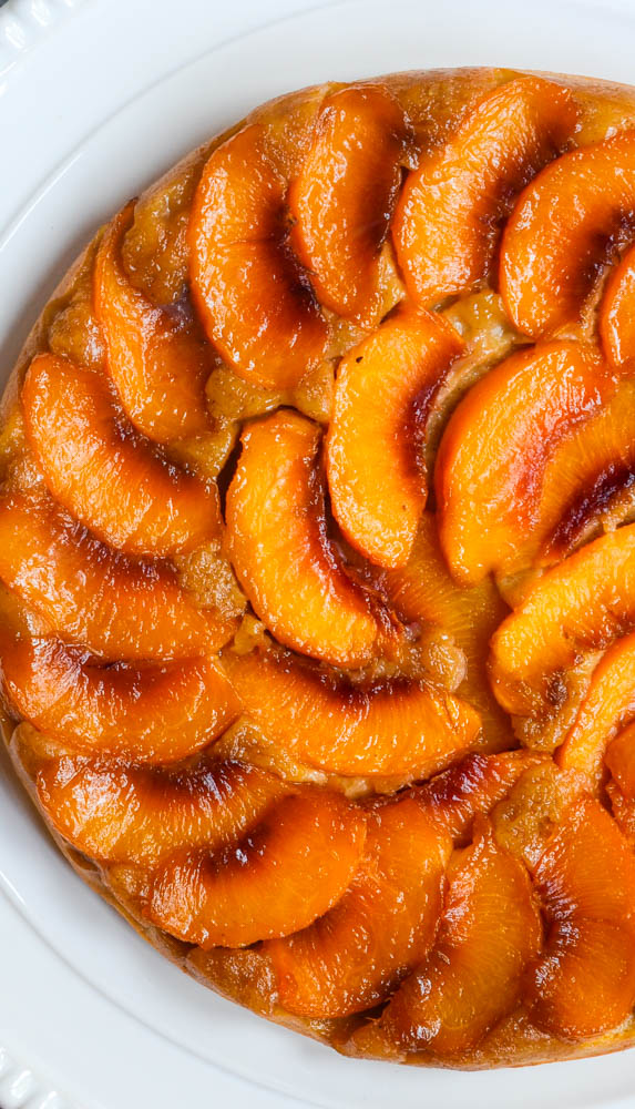 up close aerial picture of peach upside down cake