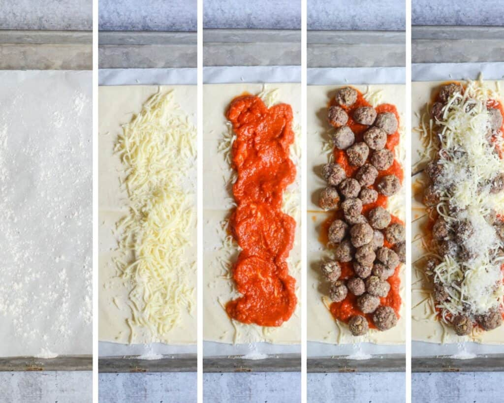 5 part picture collage showing flour lined parchment paper, mozzarella cheese being added, marinara, meatballs, then more cheese on puff pastry.
