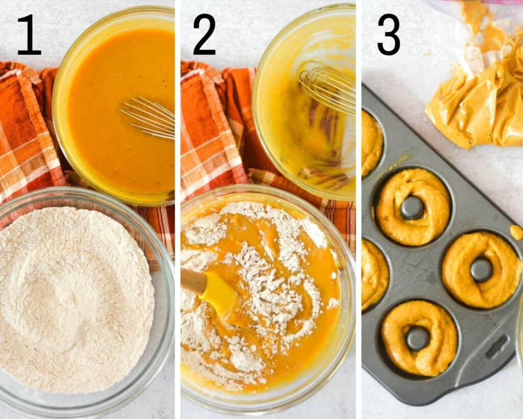 three part collage showing 1. wet and dry ingredients separated into bowls, 2. combing wet ingredients into dry and 3. placing batter into plastic bag and filling donut pan.