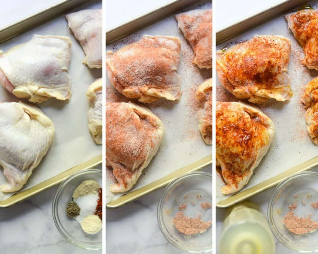 3 part picture collage showing thighs dried, covered in spices, then topped with olive oil.