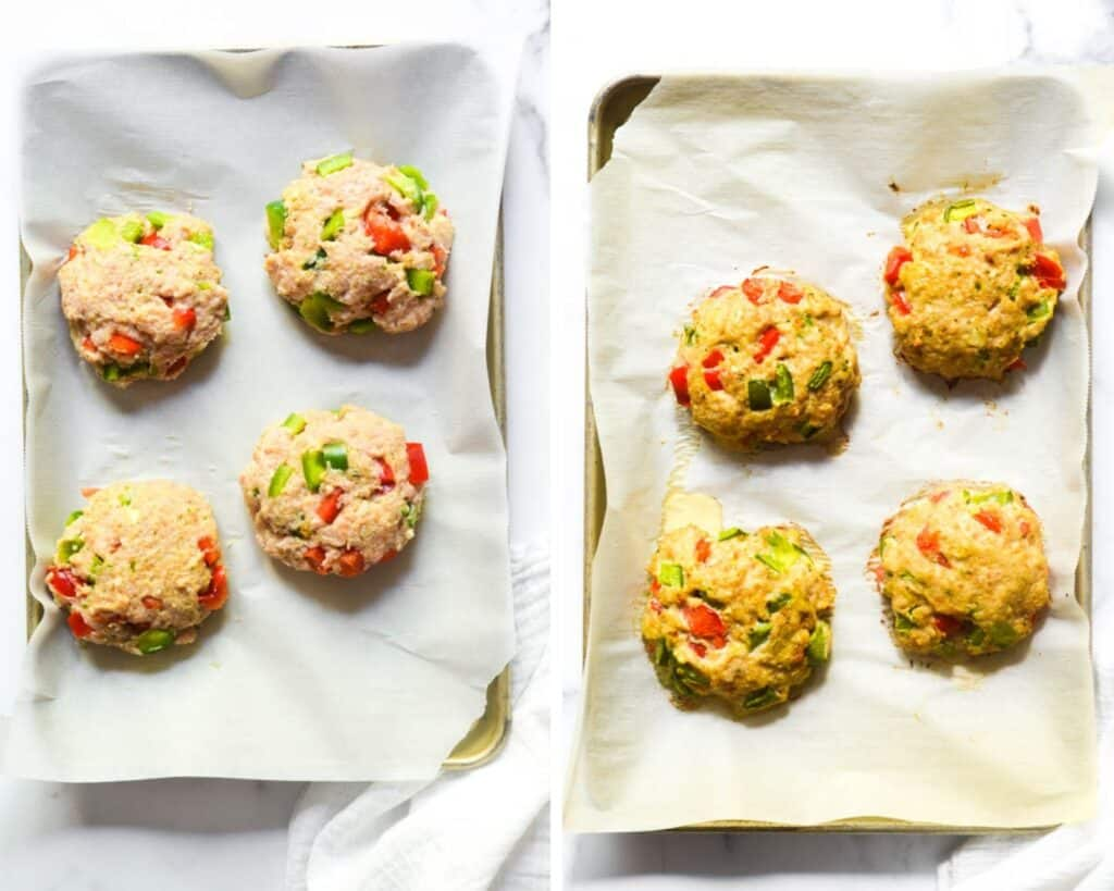 two picture of collage of 4 uncooked chicken patties on baking tray on the left and the same tray baked on the right.