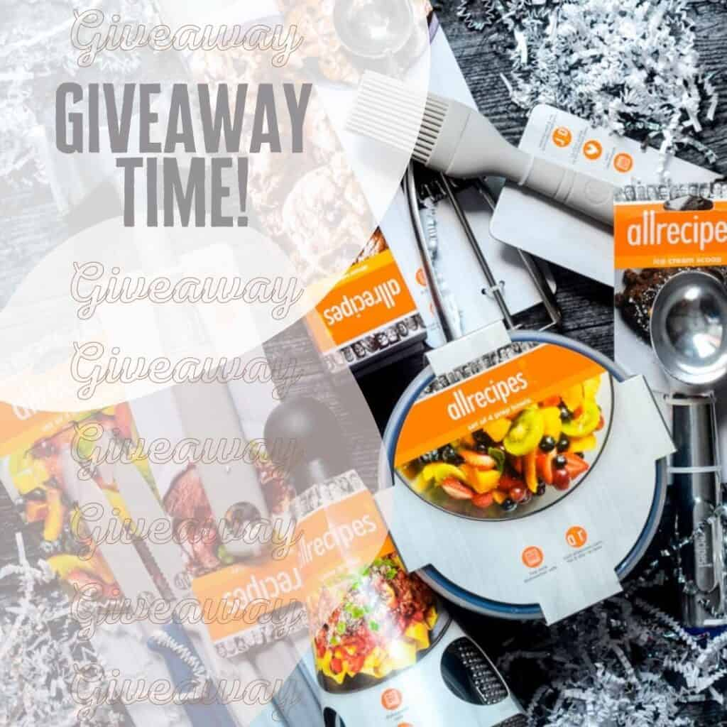 """giveaway time graphic with kitchen tools in the background and text reading """"giveaway time!"""""""