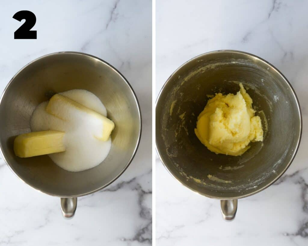 two part collage showing the second step in the cookie making process: creaming butter and sugar together until light and fluffy.