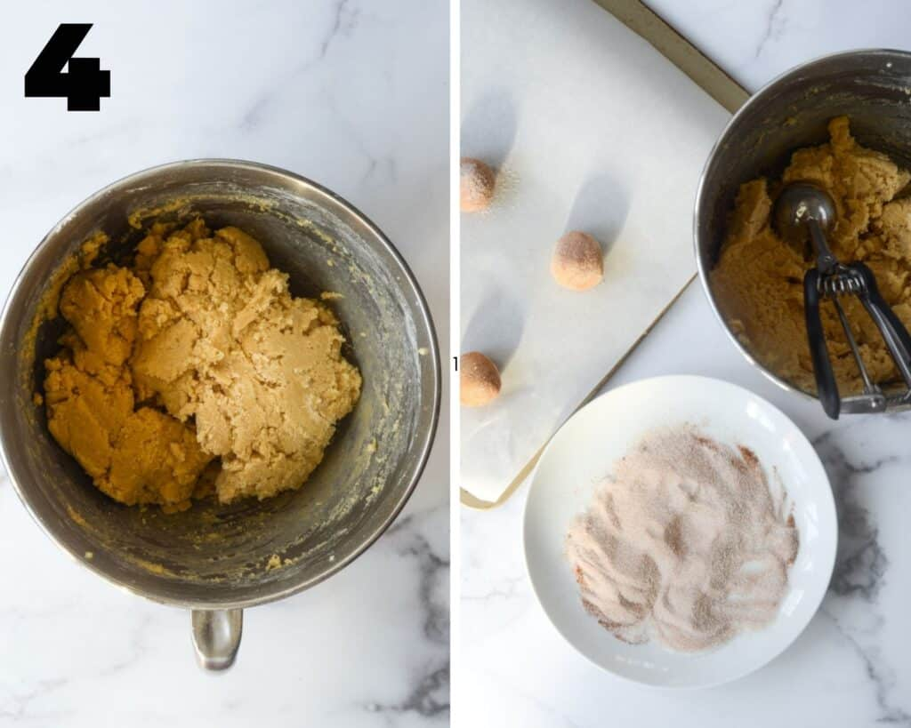 two picture collage with first frame having mixing bowl with dough in it and the second showing some of dough rolled into balls onto cookie sheet.